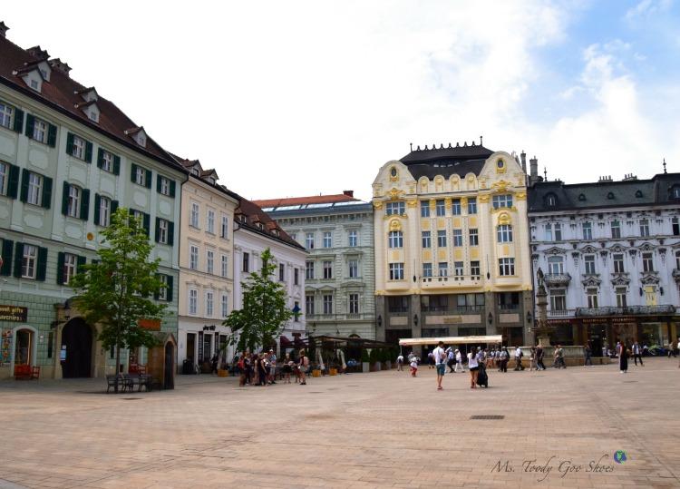 Bratislava's Old Town Square | Ms. Toody Goo Shoes #bratislava #slovakia #danuberivercruise