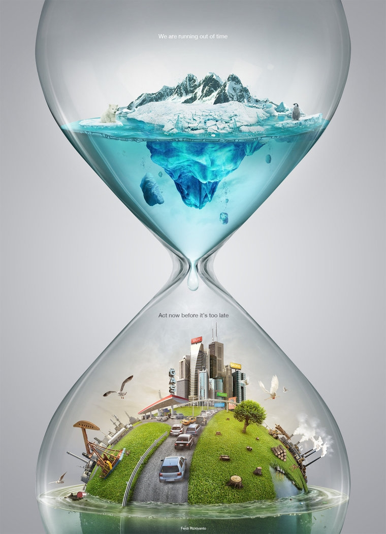 01-Time-and-Global-Warming-Ferdi-Rizkiyanto-Surreal-and-Satirical-Photo-Manipulation-www-designstack-co