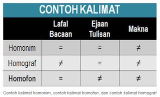Contoh Kalimat Homonim, Contoh Kalimat Homograf, Contoh Kalimat Homofon
