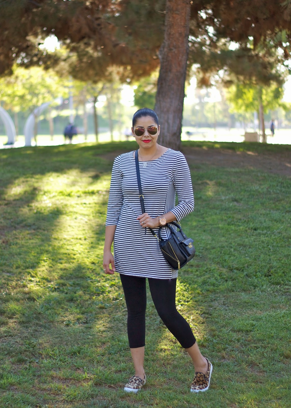 What to wear to walk around, how to wear leopard flats, how to wear leopard with stripes, shopkika, shopkika striped tunic, eco friendly clothing in LA