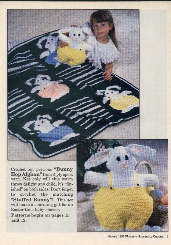 Manta e coelho em croche -Bunny Hoop Afghan and Stuffed Bunny