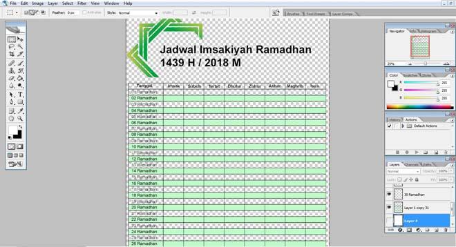 Download Desain Jadwal Imsakiyah Ramadhan Terbaru PSD