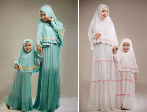 Model baju gamis ibu dan anak perempuan 2016 Baju gamis couple ibu ayah anak