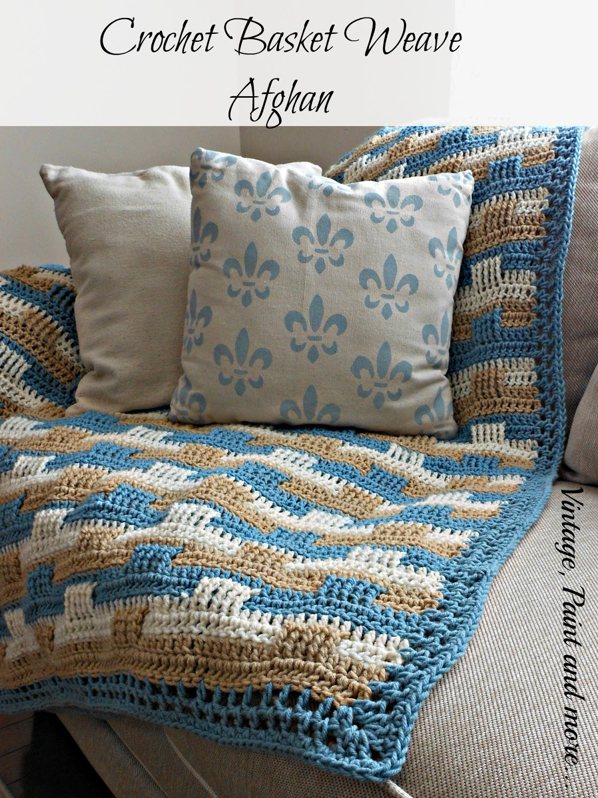 A basket weave crochet afghan done in coastal colors with Red Heart Yarn