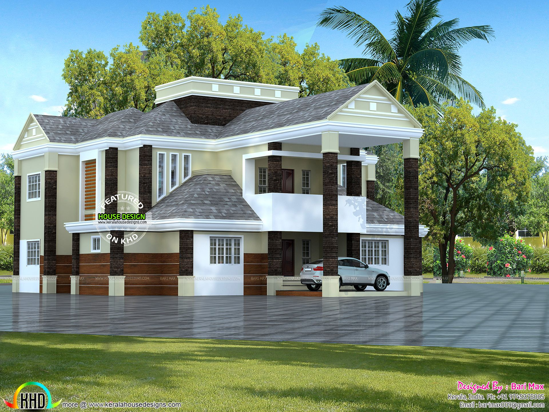 Colonial type 5 bedroom home in kerala kerala home for Colonial style homes in kerala