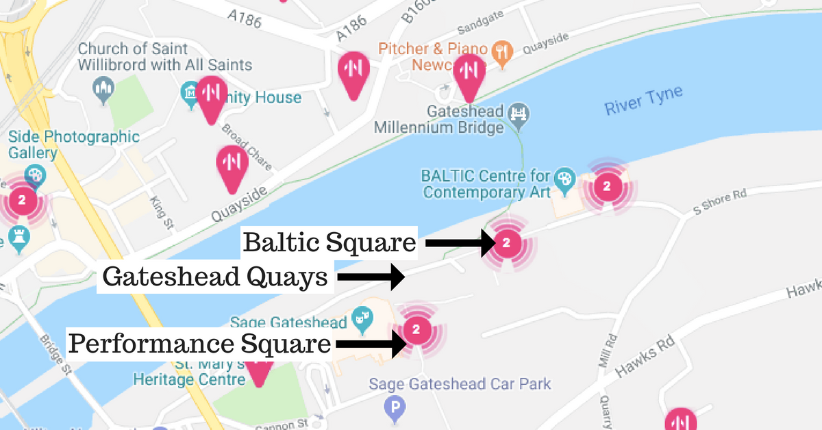 Great Exhibition of the North - What's On For Kids & Teens | Gateshead Quays  - Baltic Square, Performance Square Location Map