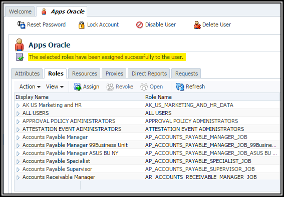 assigning function in order to individual around oracle apps