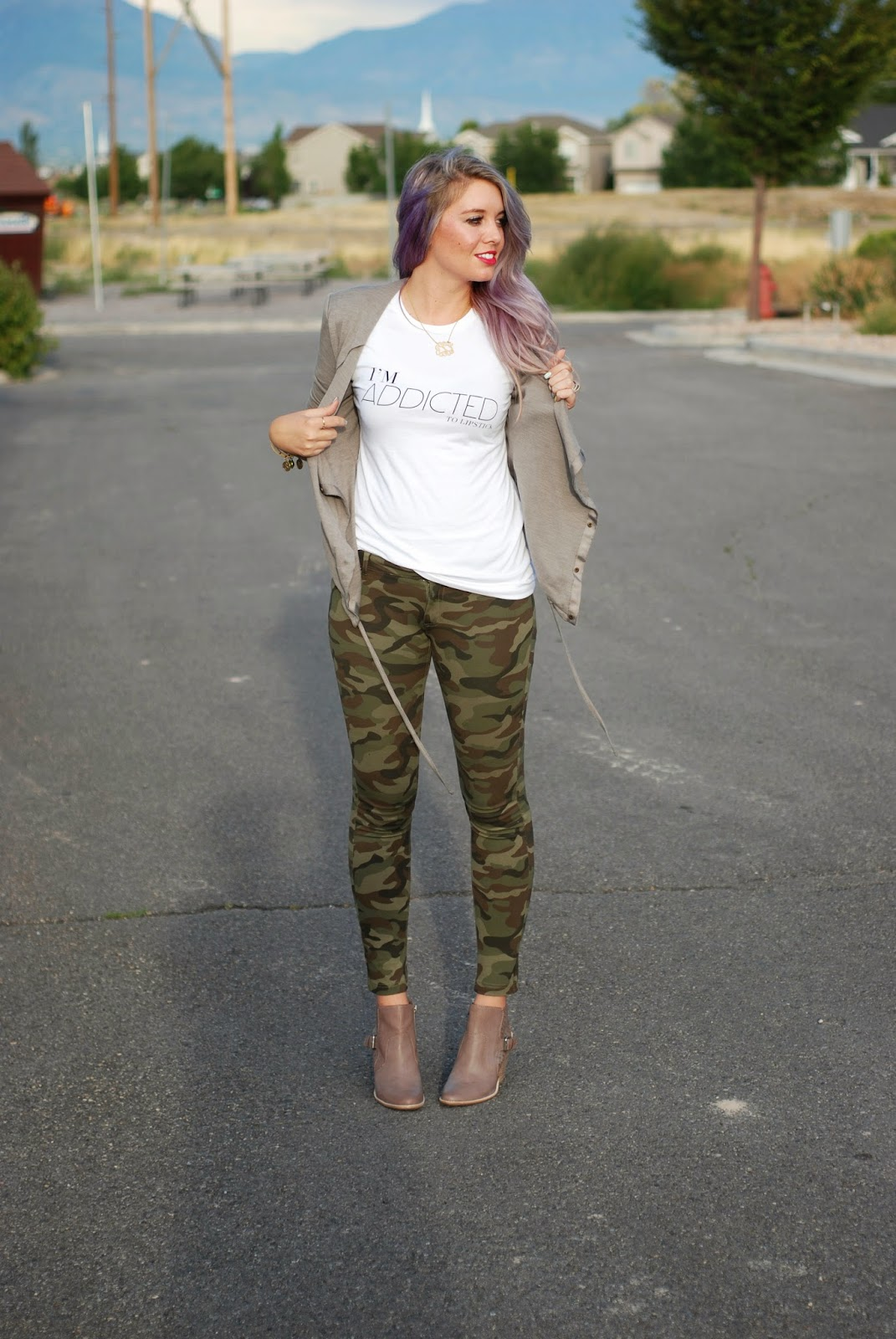 Lipstick, Camo, Modest Outfit
