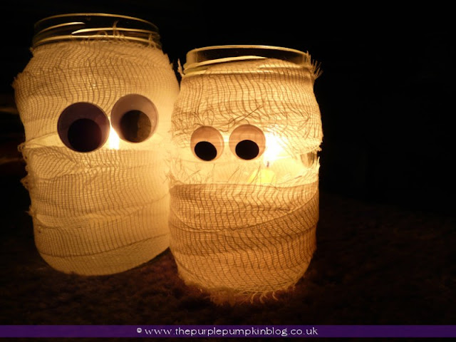 Halloween Candle Jars {Crafty October} at The Purple Pumpkin Blog