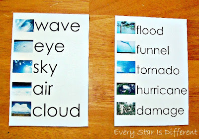 Hurricane and tornado spelling words.