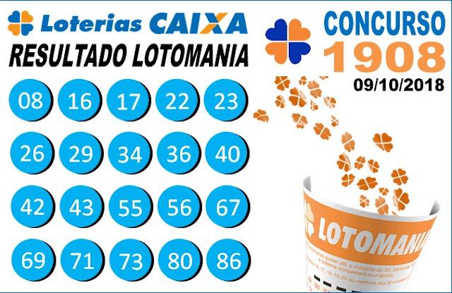 Resultado da Lotomania concurso 1908 de 09/10/2018 (Imagem: Informe Notícias)