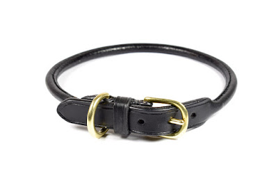 Rolled Leather Dog Collar made on measure for a Border Collie using black leather and solid brass buckle