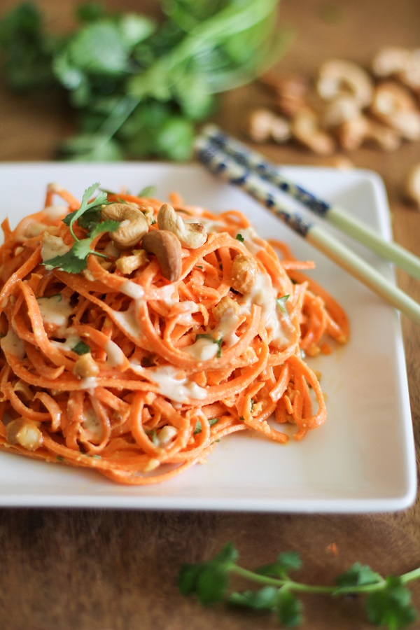 #Recipe : Raw Carrot Pasta with Ginger-Lime Peanut Sauce