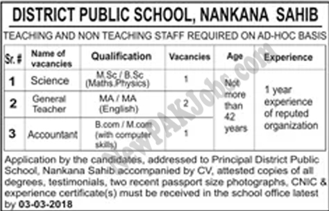 Nankana.Sahib.jobs,District.Public,School