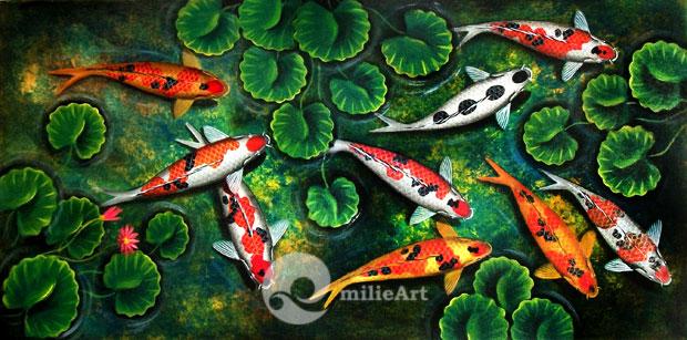 Lukisan Koi Kolam Bunga Teratai 120x60cm MK-021