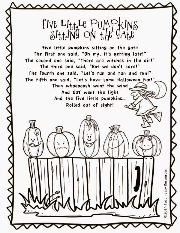13 Little Pumpkins Sitting On A Fence Coloring Page | Coloring Pages