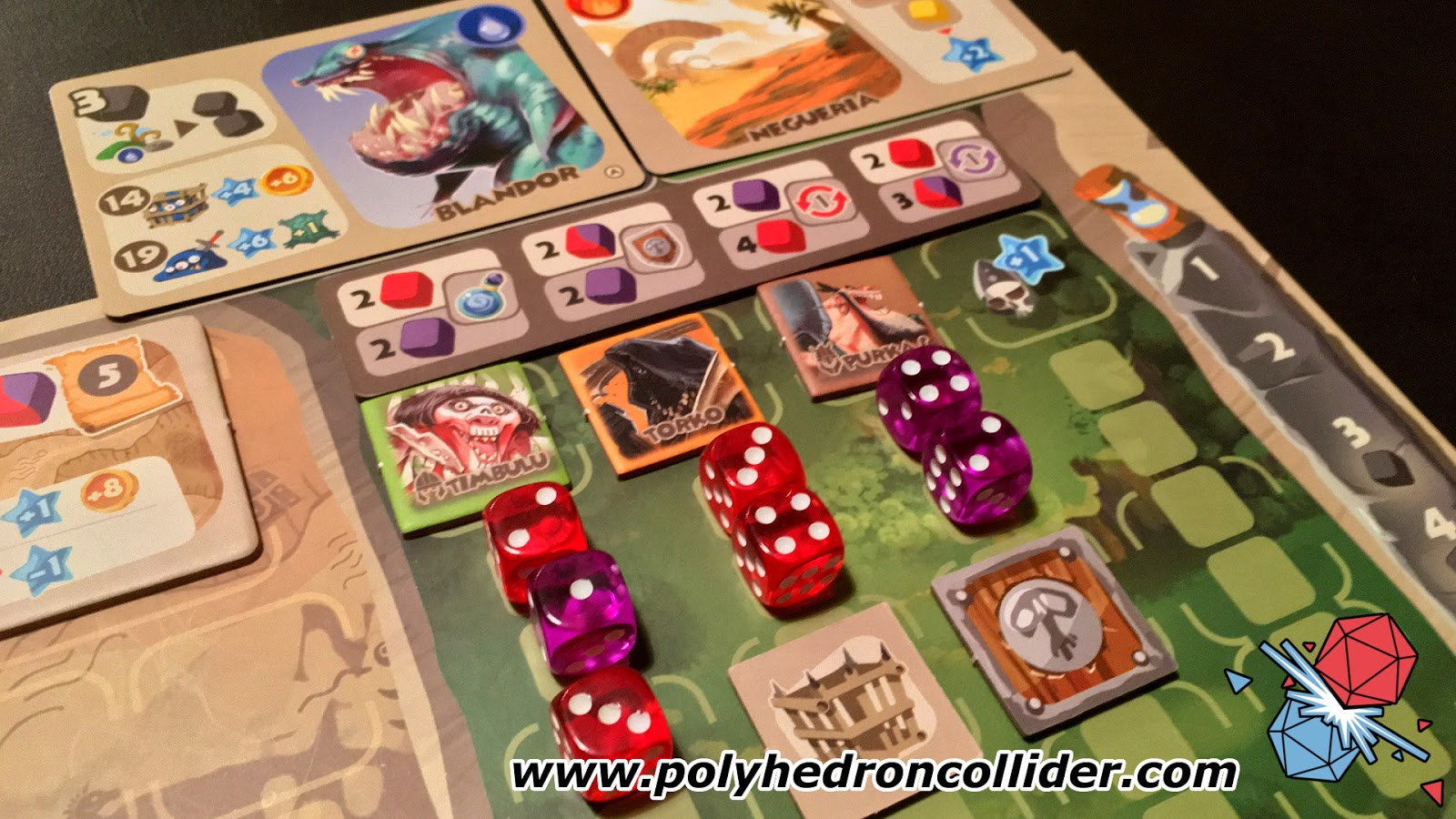 Monster Lands board game review dice placement