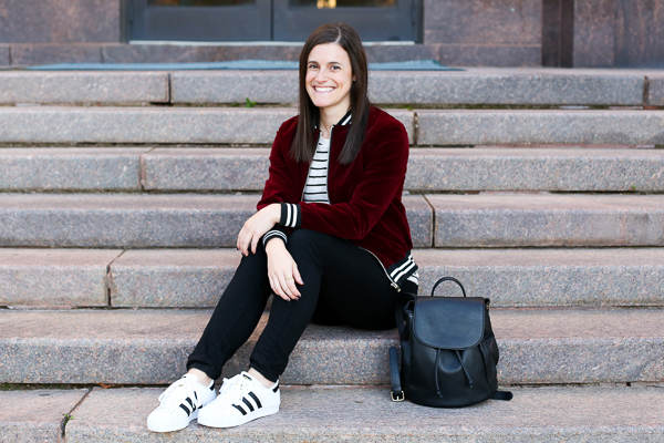 Naturally Me, Romwe Bomber Jacket, Bomber Jacket, Burgundy for Fall, Bomber Jacket and Adidas, How to Wear Adidas Superstar Sneakers, Adidas Superstar Sneakers