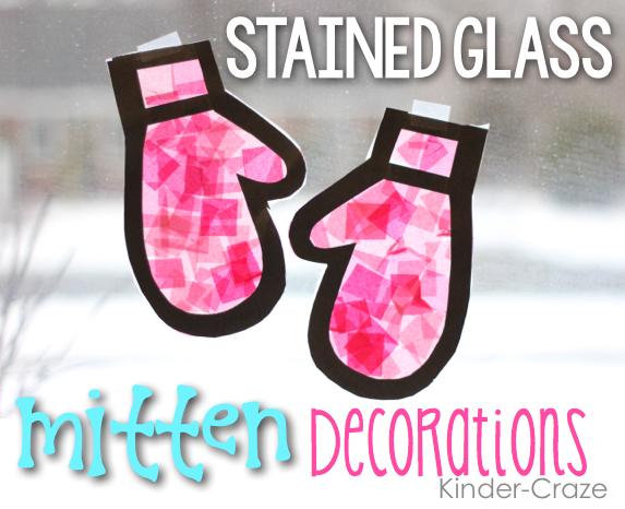 stained glass mitten decorations