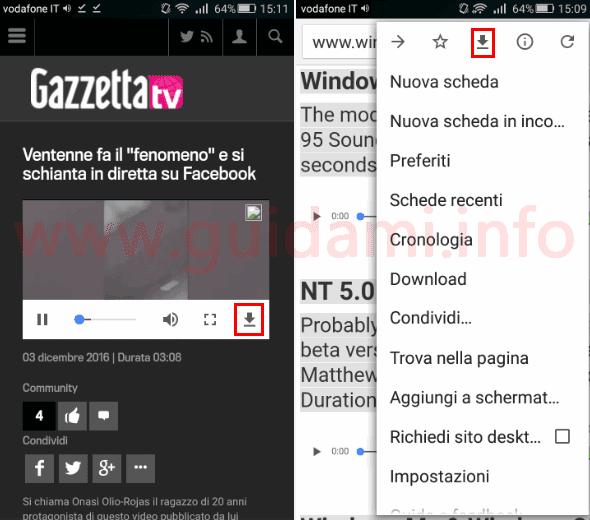 Chrome Android pulsante per scaricare video, audio e altri contenuti