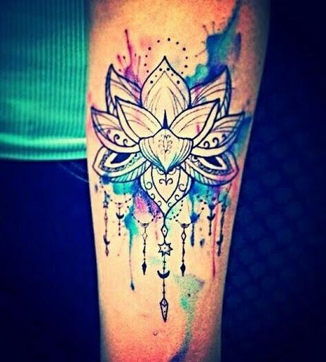 Hippie, Indie Aquarela Lotus Desenho De Tatuagem