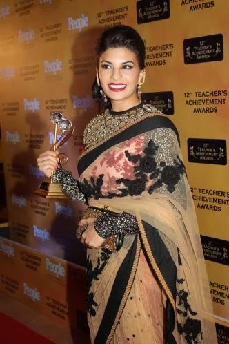 Bollywood Actress Jacqueline Fernandez Designer Beige Net Lehenga Saree