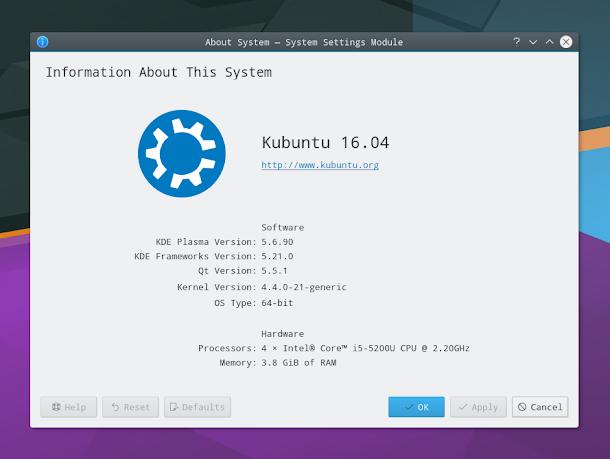 Kubuntu 16.04 KDE Plasma 5.6. About Systemから.