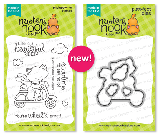 Newton Scoots By | Cat on Scooter Stamp Set by Newton's Nook Designs #newtonsnook