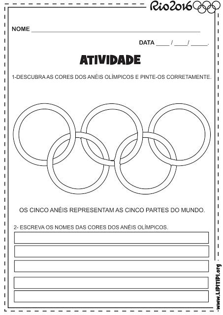 30 Atividades Olimpiadas Rio 2016 Exercicios Colorir Pintar