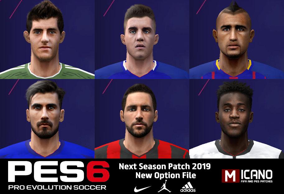 PES 6 Next Season 2019 Option File Update 13/08/2018 Season