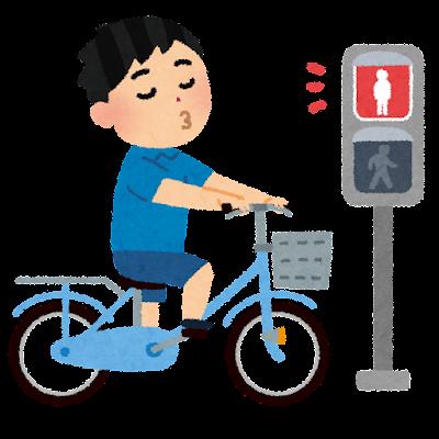 信号無視をする自転車のイラスト