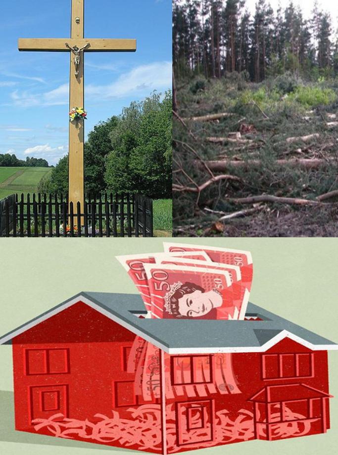 Krzyż przydrożny. Wycinka NATURY - Lasów dzieł Bożych. STOPwycince - Ilustracja John Holcroft dom wypchany pieniędzmi bez Miłości NIE WSZYSTKO KUPISZ ZA PIENIĄDZE