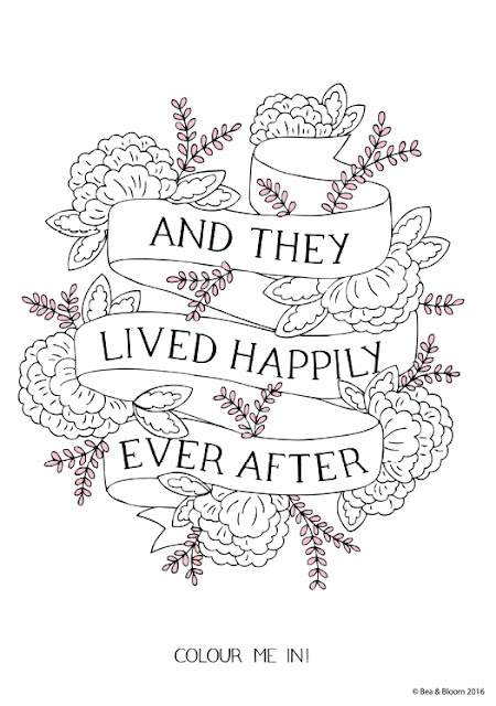 "Lámina para colorear ""And They Live Happily Ever After"" de Bea & Bloom"