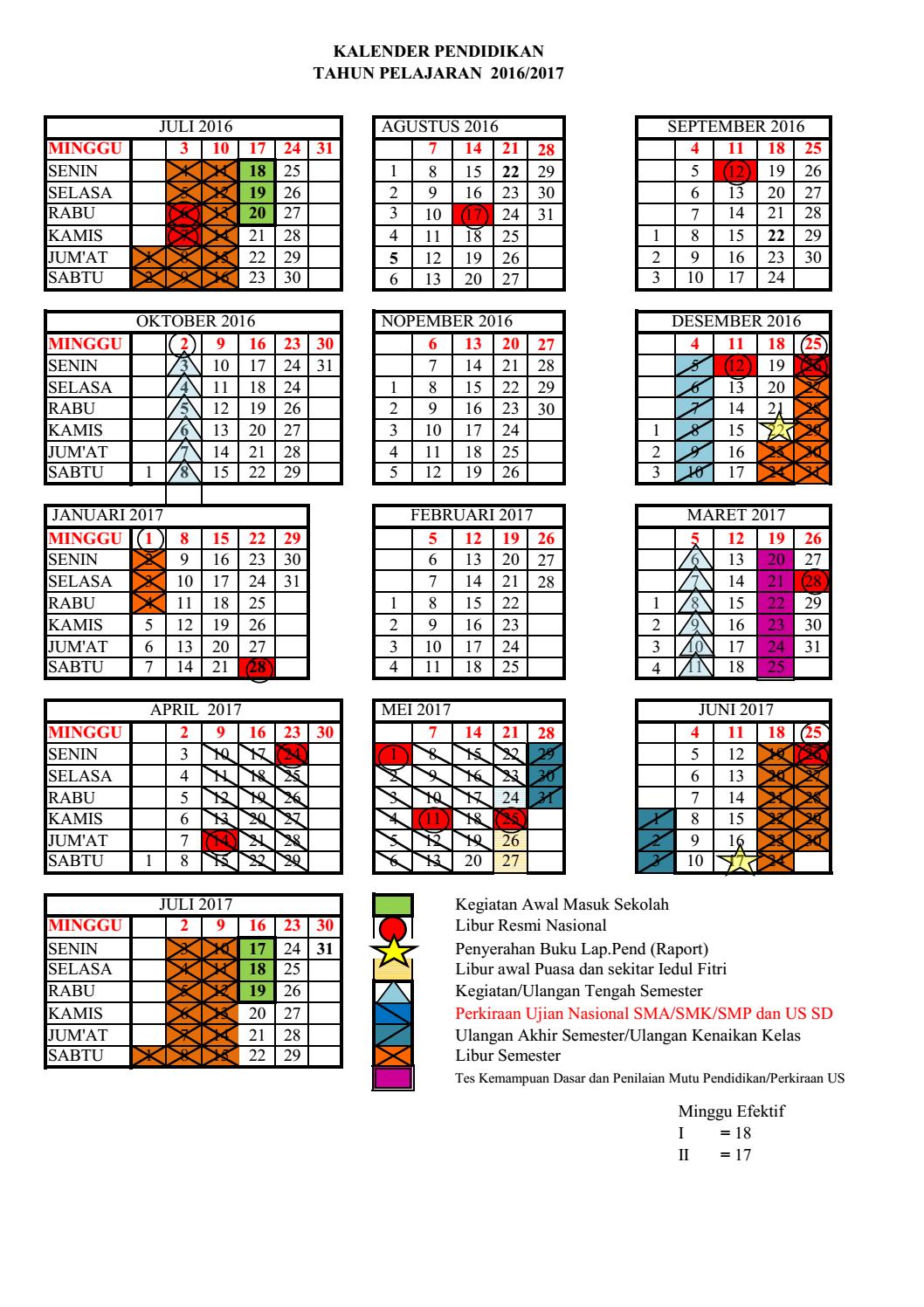 Kalender Pendidikan 2016 2017 Akrab Senada
