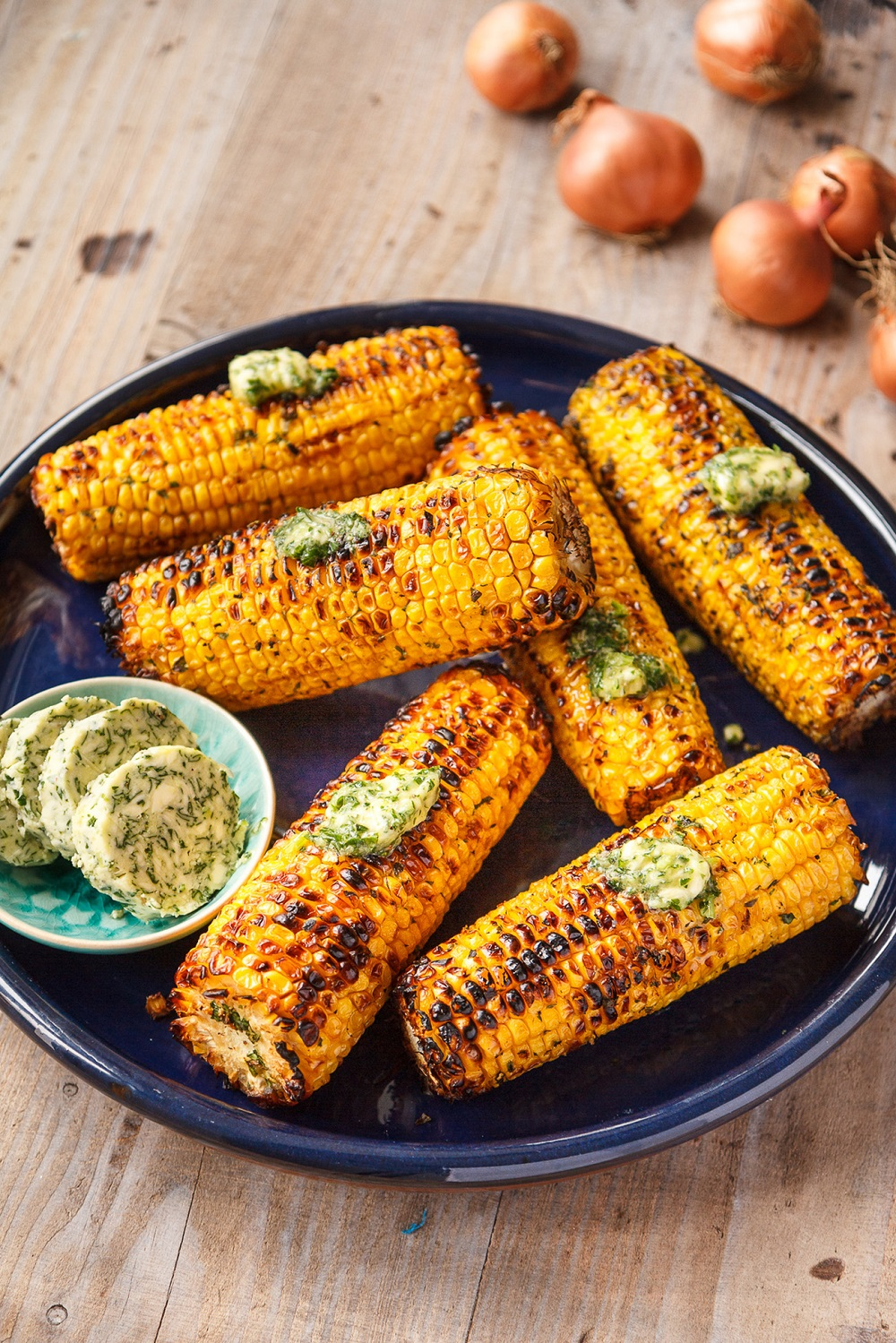 Barbecued Corn On The Cob With Shallot Herb Butter