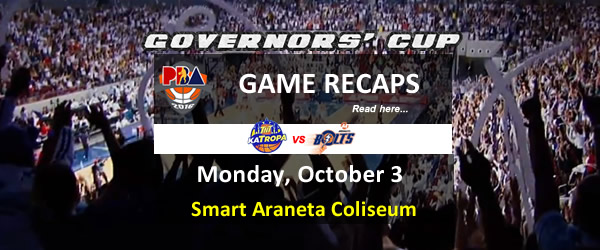 List of PBA Game Monday October 3, 2016 @ Smart Araneta Coliseum