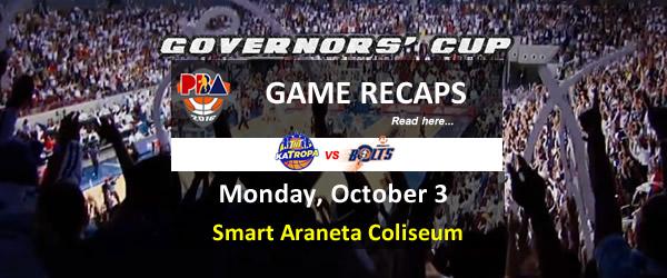 List of PBA Game Monday October 3, 2016 @ Smart Araneta Coliseum