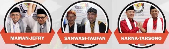 Tiga pasang calon Bupati dan wakil Bupati Kabupaten Majalengka 2018