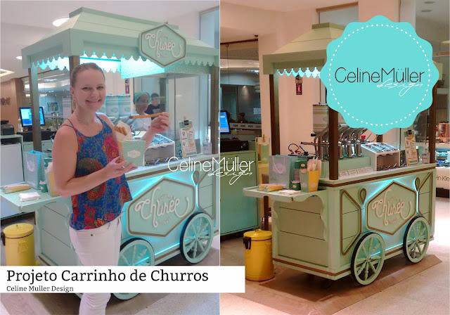 Carrinho Vintage para venda de churros desenvolvido pela especialista em projetos comerciais (quiosque para shopping) Celine Aparecida Muller...