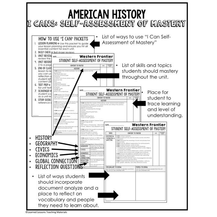 American History I Cans Student Self Assessment of Mastery BUNDLE - student self assessment