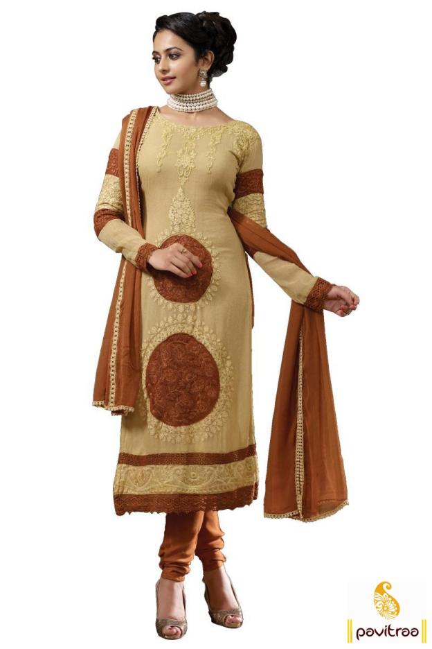 Rakul Preet Singh In Coffee Color Embroidery Salwar Suit