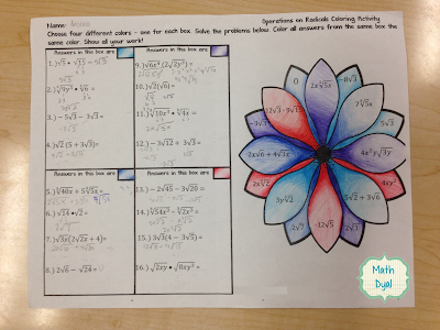 self checking middle school math coloring activities