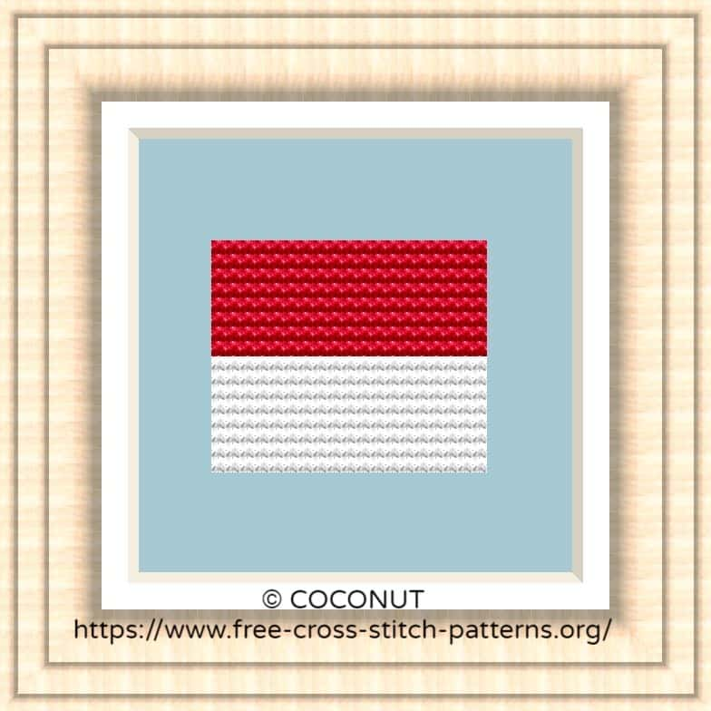 NATIONAL FLAG OF MONACO CROSS STITCH CHART