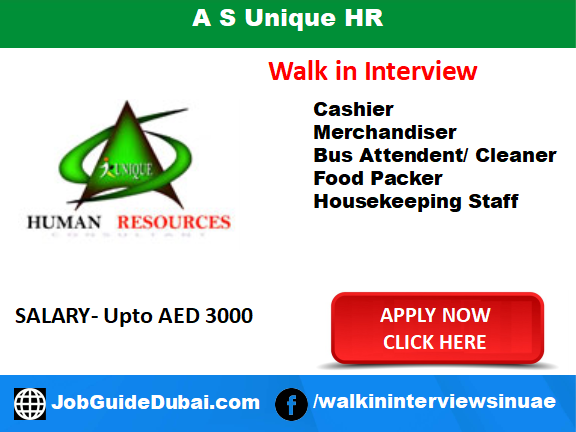 Job in Dubai for Cleaner, Merchandiser, Bus Attendent, Food Packer and Housekeeping Staff