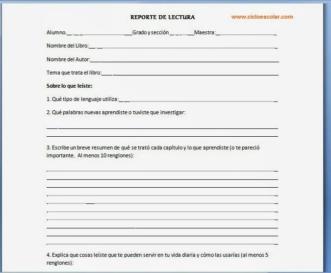 Como hacer un Reporte de Lectura? - Primaria - Ciclo Escolar