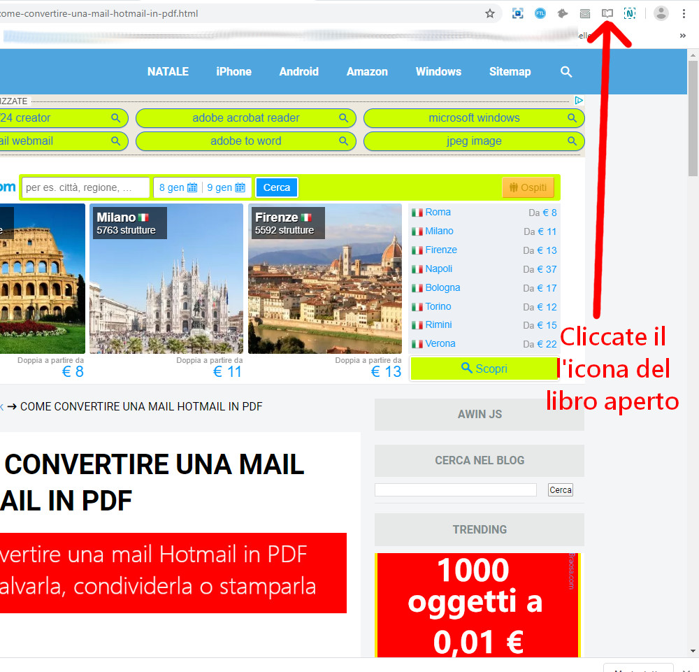 Conversione pagina in PDF