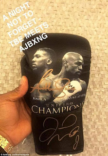 Special Boxing glove signed by Floyd Mayweather and Anthony Joshua