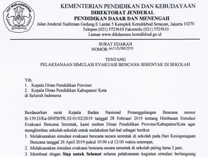 Download Juknis Surat Edaran Dirjen Dikdasmen Pelaksanaan Simulasi Evakuasi Bencana Secara Serentak di Sekolah