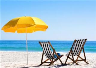 beach, chairs, umbrella