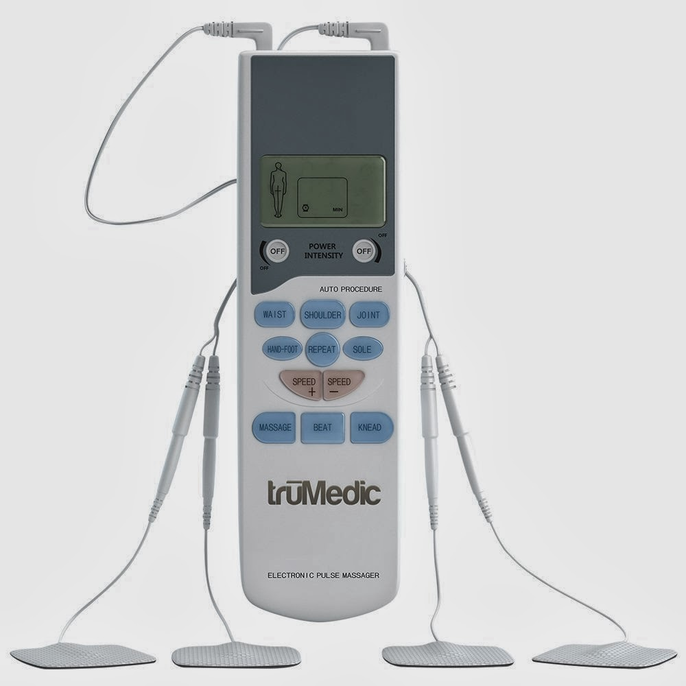 Relieve muscle aches and pains with a TruMedic TENS Handheld electronic pulse massager unit.